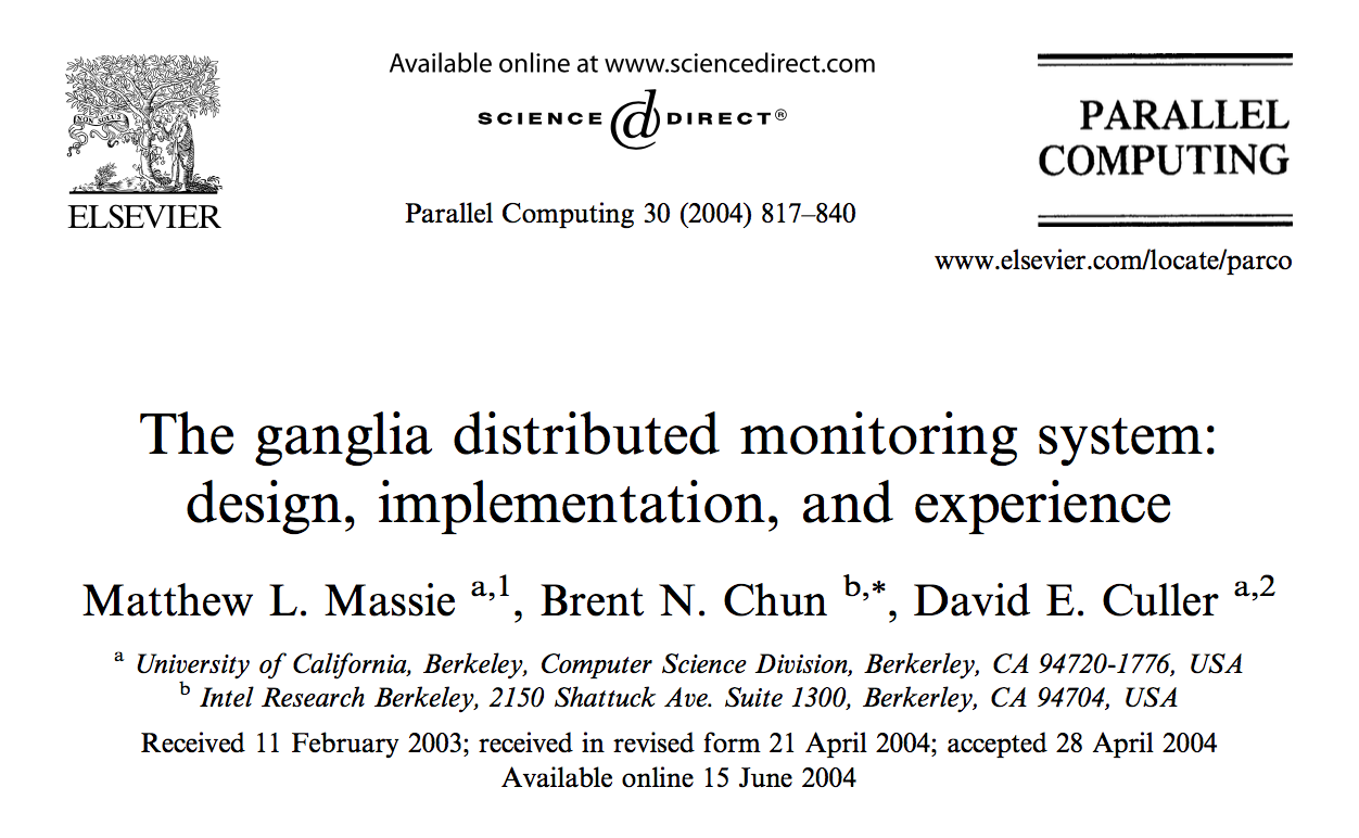 《 The ganglia distributed monitoring system: design, implementation, and experience》(必读)