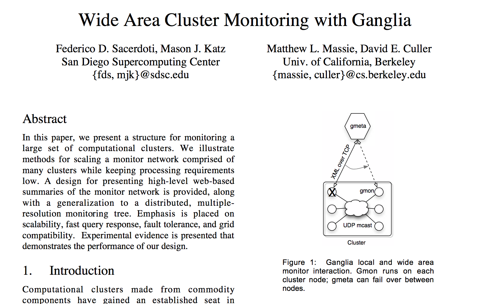 《Wide Area Cluster Monitoring with Ganglia》(必读)