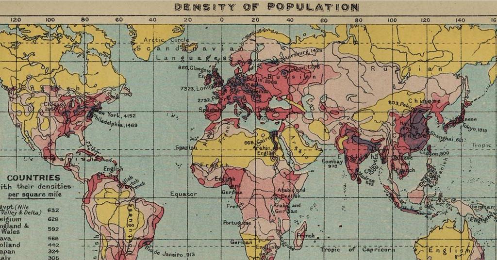 1918年世界人口分布图